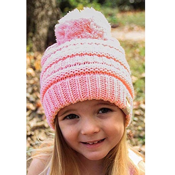 bb9e12ac5772f C.C Kids Pink Cable Knit Pom Beanie